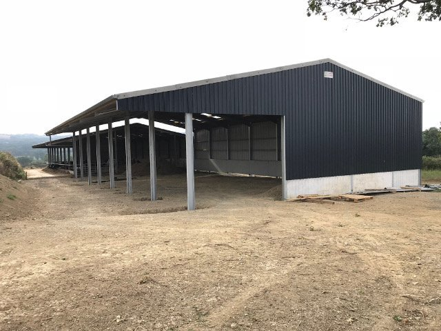 Open fronted steel framed agricultural building